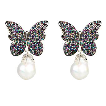 Earrings Natural Baroque Pearl Butterfly Stud Multi Coloured White 925 Silver