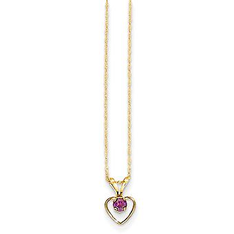 14k Yellow Gold Polished Spring Ring 3mm Rhodalite Garnet Love Heart for boys or girls Pendant Necklace 15 Inch Measures