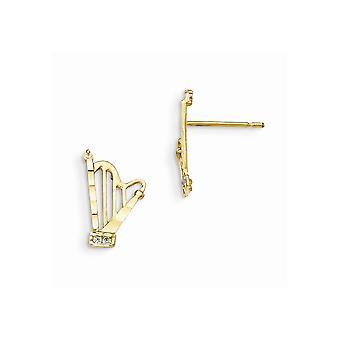 14k Gelb Gold Madi K Zirkonia funkeln-Schnitt für Jungen oder Mädchen Harfe Post Ohrringe
