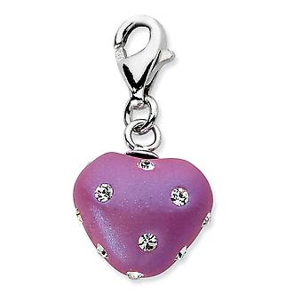925 Sterling Silver Rhodium plated Fancy Lobster Closure Click on Purple Ferido and Crystal Love Heart Charm Pendant Nec