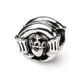 925 sterling sølv poleret antikke finish refleksioner Claddagh perle charme