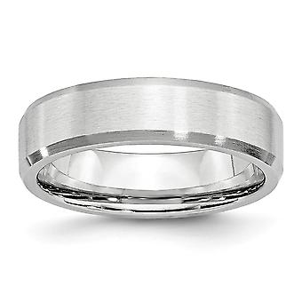 Cobalt Chromium Engravable Beveled Edge All Satin 6mm Band Ring Jewelry Gifts for Women - Ring Taille: 7 à 13
