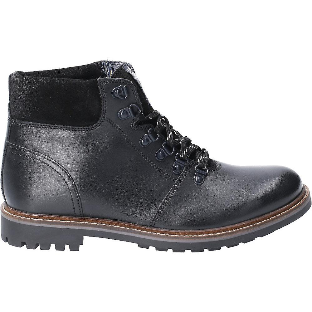 Base London Mens Fawn Burnished Leather Lace Up Ankle Boots