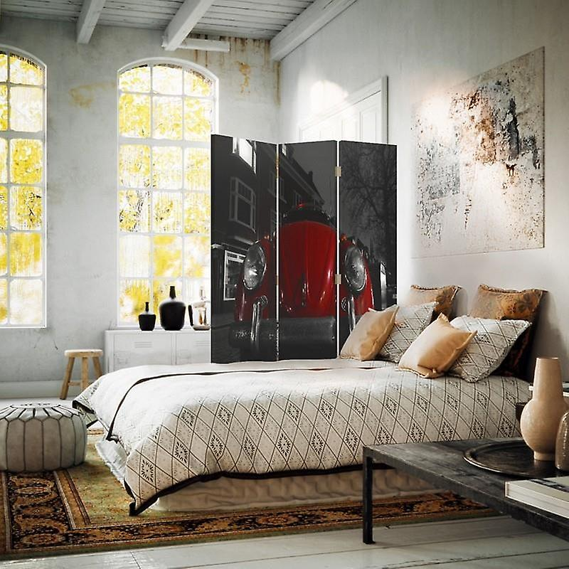 Diviseur de chambre, 3 panneaux, à un seul côté, toile, red Hunchback