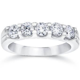 1ct-Lab som skapat Diamond 5-sten vigselring Womens vitt guld 14K