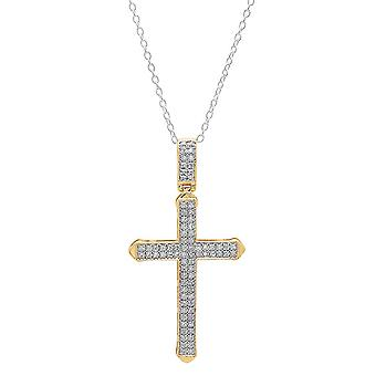 Dazzlingrock Collection 0.30 Carat (ctw) 10K White Diamond Men's Cross Pendant 1/3 CT (Silver Chain Included), Yellow Gold