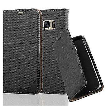 Cadorabo Hülle für Samsung Galaxy S7 Case Cover - Handyhülle in Bast-Optik mit Kartenfach und Standfunktion - Case Cover Schutzhülle Etui Tasche Book Klapp Style
