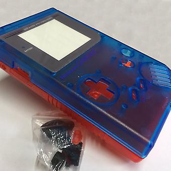 Two tone replacement housing shell case mod kit for nintendo game boy dmg-01 - clear blue & red