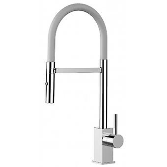 Single-lever Kitchen Sink Mixer With White Spout And 2 Jets Shower - 181