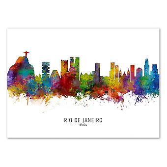 Art-Poster-Rio de Janeiro Brazilië skyline (gekleurde versie)-Michael Tompsett 50 x 70 cm