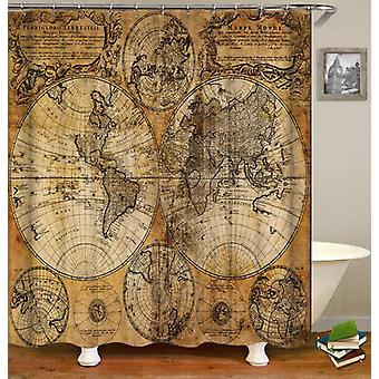 Vintage Leather Globe Map Shower Curtain