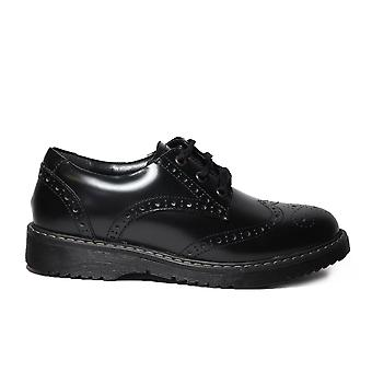 Startrite Impulsive Black Leather Girls Chunky Lace Up Brogue Chaussures d'école