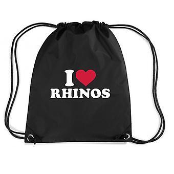 Black backpack dec0169 i loves rhinos