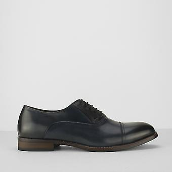 Azor Corsica Mens Leather Oxford Shoes Blue/black