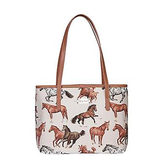 Running horse shoulder tote bag by signare tapestry / coll-rhor