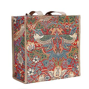 William morris - strawberry thief red reusable shopper bag by signare tapestry / shop-strd