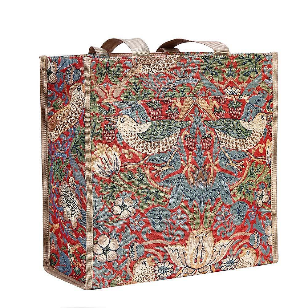 William morris - strawberry thief red reusable shopper bag by signare tapestry / shop-strd