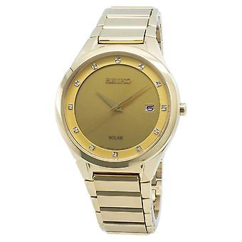 Seiko Solar SNE384 SNE384P9 SNE384P Diamond Accents Hombre's Reloj