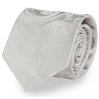 Slips slipsar binder 8CM silvergrå Paisley mönster UNI Fabio Farini