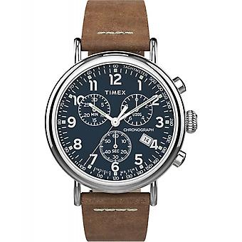 Timex TW2T68900 Standard Chronograph Leather Wristwatch Brown