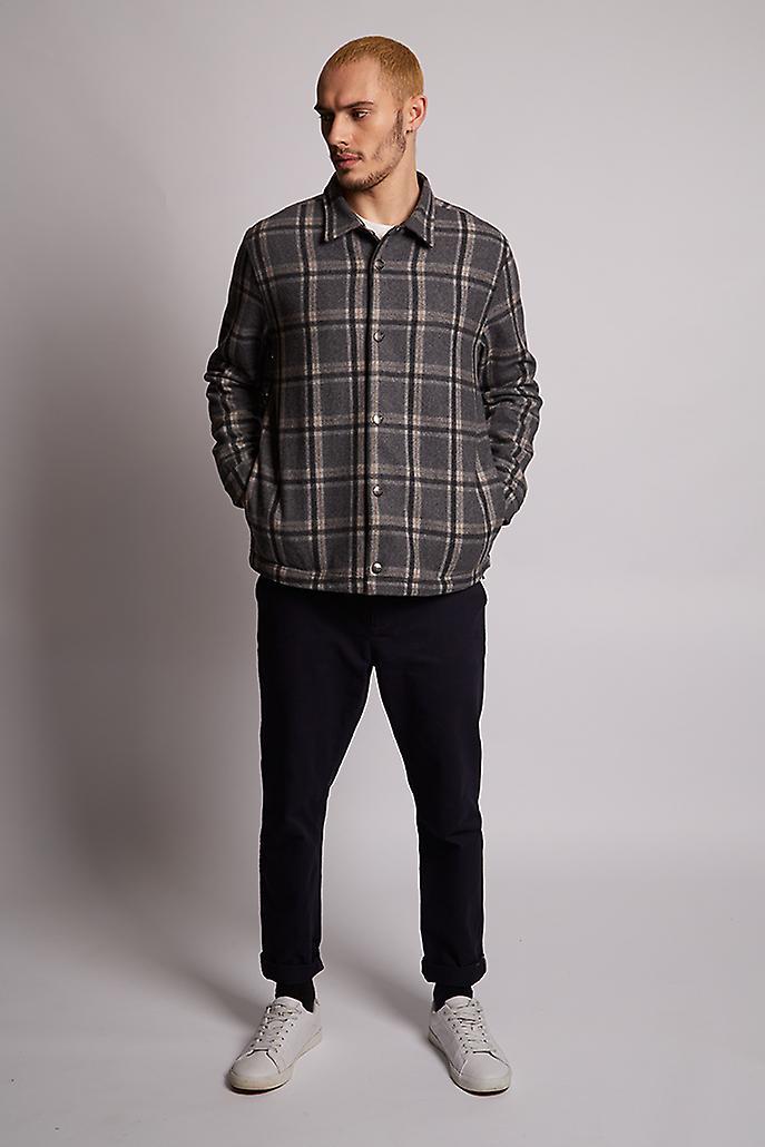 Hymn Hunt Check Wool Coach Jacket Grey