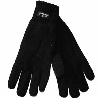 New Ladies Warm Knitted Winter High Cuffed Gloves Thermal Thinsulate Lined Black