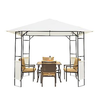 Outsunny 3 x 3 Meters Patio Garden Metal Gazebo Marquee Steel Frame with Canopy Awning Tent Water Resistant Cream