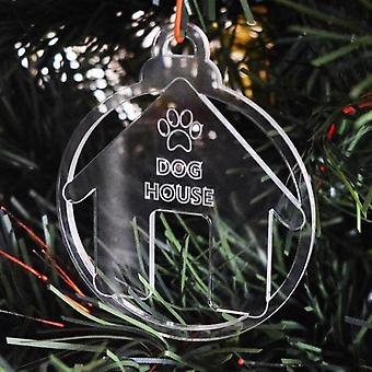 Dog Bauble Clear Acrylic Christmas Decorations 6pk - Dog House Kennel