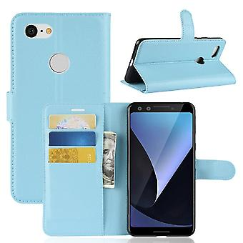 For Google Pixel 3 Leather Wallet Case Blue Lychee Texture Cover,Card Slots