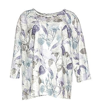 Alfred Dunner Women's Top 3/4 Sleeve Textured Floral Print Purple