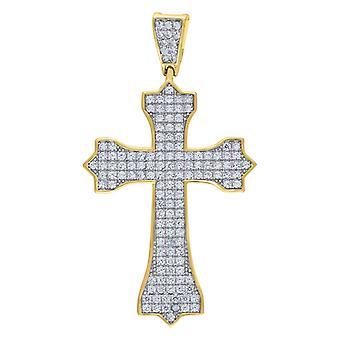 925 スターリングシルバーイエローCZキュービックジルコニアシミュレートダイヤモンド宗教信仰クロス6.53gmメンズチャームペンダントネックレス