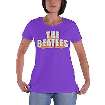 Os Beatles rhinestone 3D logotipo oficial das mulheres novo roxo Skinny Fit T-shirt