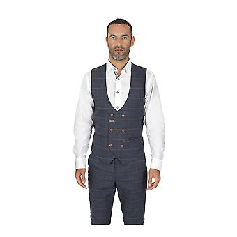 Marc Darcy Jenson Marine Check Suit Waistcoat