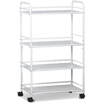 Large Beauty Salon Shelf Therapy Trolley Cart Spa Storage Tray Therapy Dentist Hairdresser Treatments, 4 Shelves, White