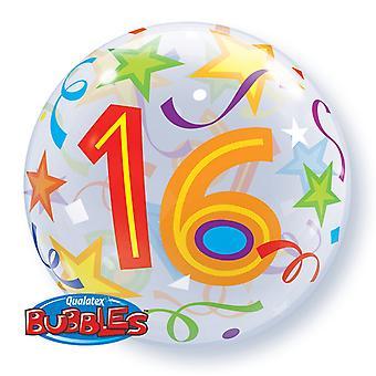 Qualatex 22 pouces seul âge 16 motif d'étoile anniversaire bulle bulle