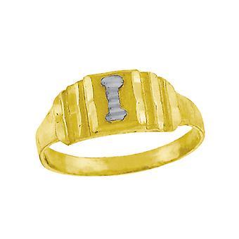 10k Två ton Guld baby för pojkar eller flickorBrev Namn Personlig Monogram Initial I Band Ring Åtgärder 6.3x2.50mm Wide S