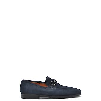 Santoni Mcnc16466si1ers Men's Blue Suede Loafers