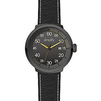 Vereenvoudig de 7100 Leather-Band Watch w/Date - Zwart/Geel