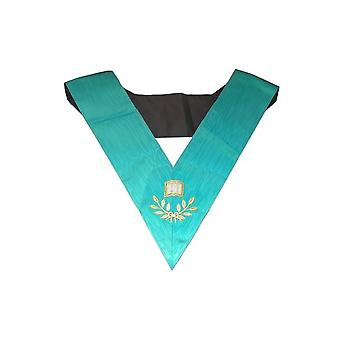 Masonic officer's collar – groussier french rite – orator – machine embroidery