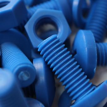160 x Blue M3, M4, M5, M6, M8 - Pan Head Polypropylene (PP) Nuts and Bolts, Washers