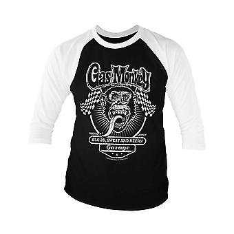 Gas Monkey Garage Baseball Shirt Racing Drapeaux nouvelle manche officielle Hommes 3/4