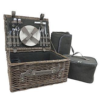 Cesta de picnic ajustada de 2 personas gris tweed