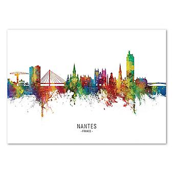 Art-Poster - Nantes France Skyline (Colored Version) - Michael Tompsett
