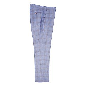 Guide London Light Blue With Tan Check Suit Trousers
