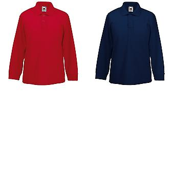 Fruit Of The Loom Childrens Long Sleeve 65/35 Pique Polo / Childrens Polo Shirts (Pack of 2)