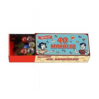 40 Glasmurmeln im Farbenkasten