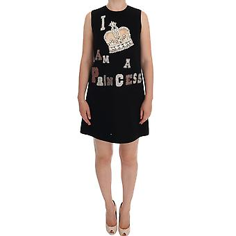 Dolce & Gabbana Black I Am A Princess Crystal Shift Dress DR1052-1
