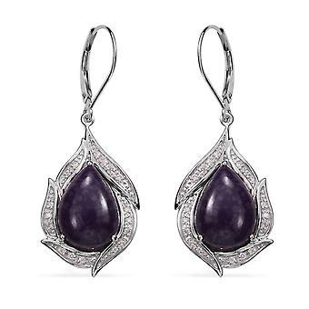 TJC Sugilite Drop Dangle boucles d'oreilles Femme Sterling Argent Diamant Blanc, 13.15Ct