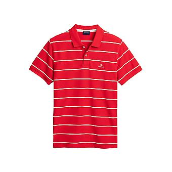 Gant Men's Rugger Navy Stripes Pique Polo T-Shirt Regular Fit