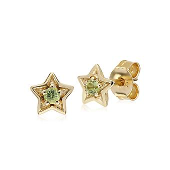 Classic Single Stone Round Peridot Star Stud Earrings in 9ct Yellow Gold 135E1523069